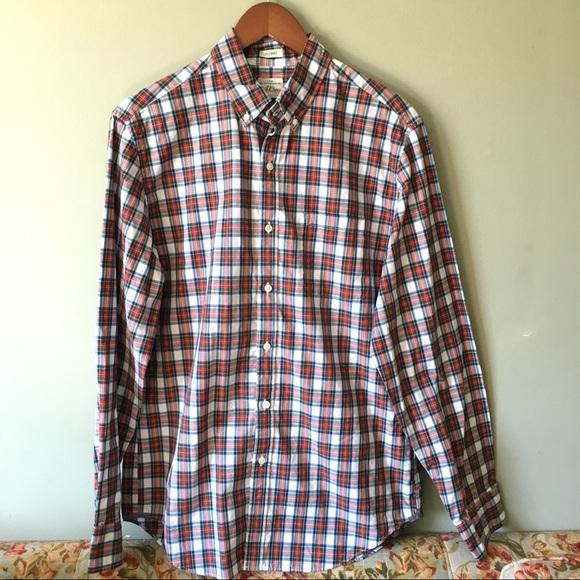 J. Crew Men's Classic 2 Ply Cotton Red Plaid Shirt